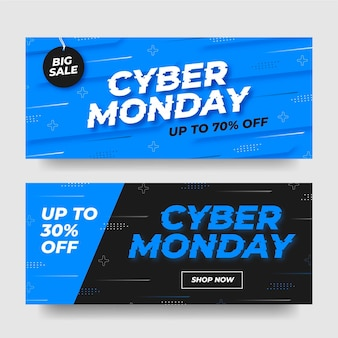 Cyber monday banners in flat design