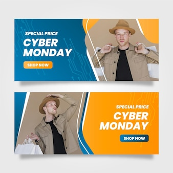 Cyber monday banners with photo in flat design