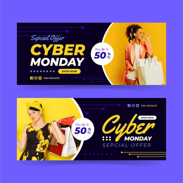 Cyber monday banners with photo