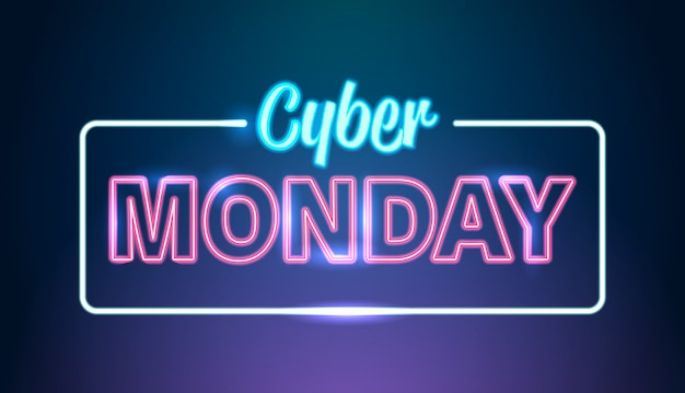 Cyber monday big sale advertisement online template special offer concept holiday shopping discount poster horizontal
