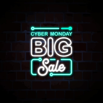 Cyber monday big sale neon style sign illustration
