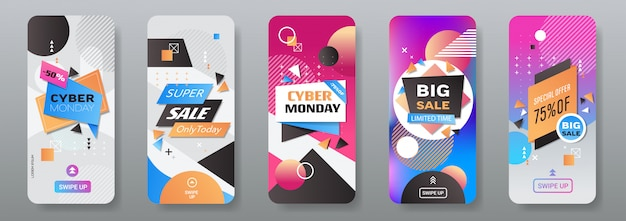 Кибер понедельник большие продажи наклейки набор рекламы специальное предложение концепция праздник покупки скидка смартфон экраны коллекция онлайн мобильное приложение горизонтальный
