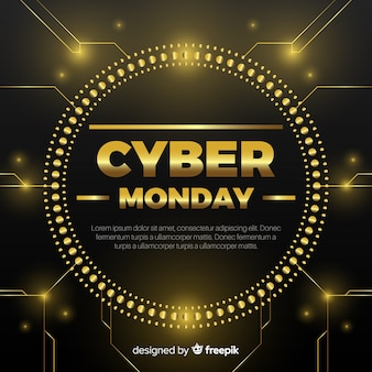 Cyber monday black and golden sale background