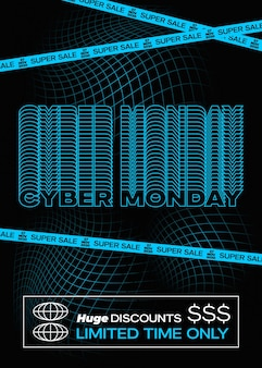 Cyber monday blue typography banner poster or flayer template creative fading grid background concep...