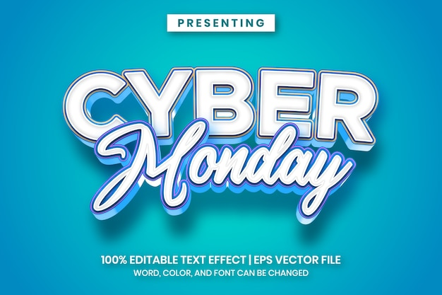 Cyber monday bold cartoon text effect style
