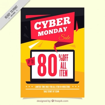 Cyber monday brochure with a laptop