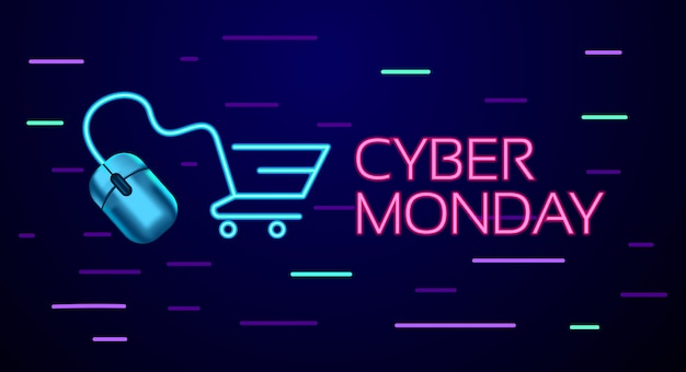 Cyber monday colorful neon style conceptual sign