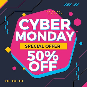 Cyber monday colorful technology background abstract
