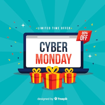 Cyber monday composition with flat design