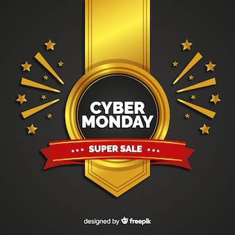 Cyber monday composition with golden style