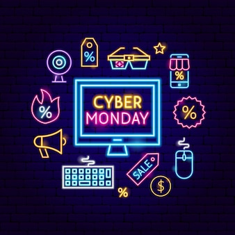 Cyber monday computer neon concept. vector illustration of shopping sale promotion.