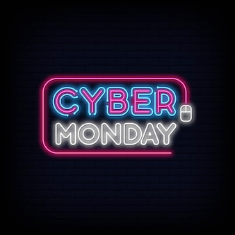 Cyber monday concept banner in fashionable neon style, luminous signboard, nightly advertising advertisement.