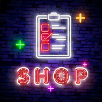 Cyber monday concept banner in fashionable neon style, luminous signboard
