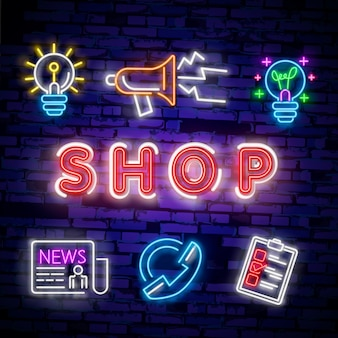 Cyber monday concept banner in fashionable neon style