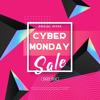 Cyber monday concept banner in modern style.