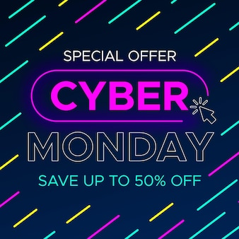 Cyber monday concept in flat design