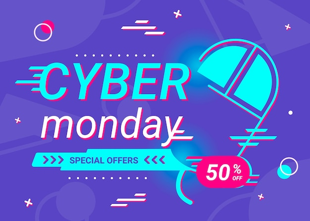 Cyber monday concept in flat design Free Vector