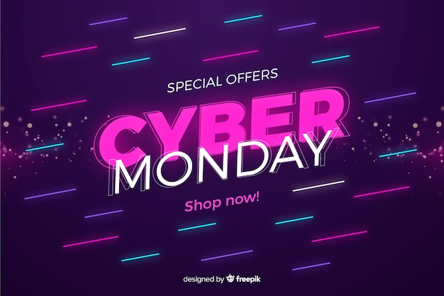 Cyber monday concept in flat desing