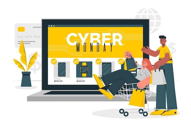 Illustrazione di concetto di cyber lunedì