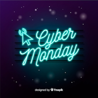 Cyber monday concept in neon sign