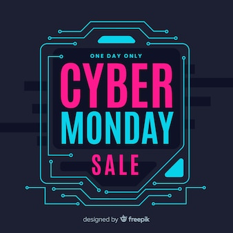 Cyber monday concept with flat design background