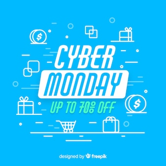 Cyber monday concept with flat design