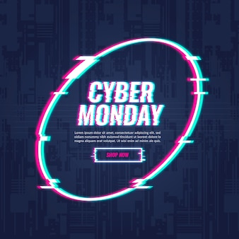Cyber monday concept with glitch effect