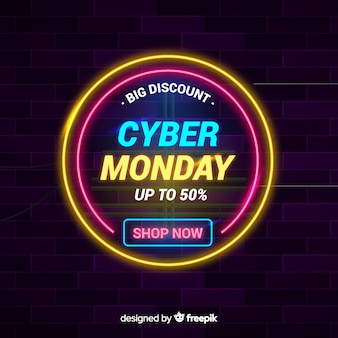 Cyber monday concept with neon background