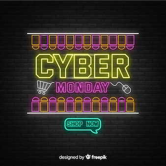 Cyber monday concept with neon design
