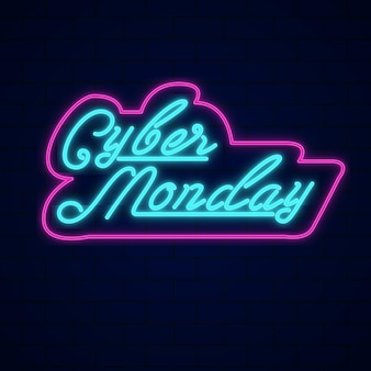 Cyber monday concept with neon