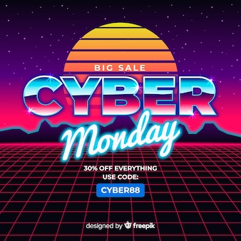 Cyber monday concept with retro futuristic background
