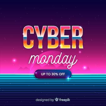 Cyber monday concept with retro futuristic design