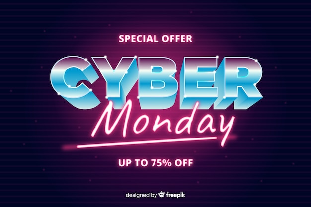 Cyber monday concept with retro futuristic style