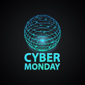 Cyber monday cover. internet network sign logo icon on the black background. vector illustration