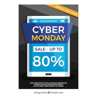 Brochure del dispositivo cyber monday in design piatto