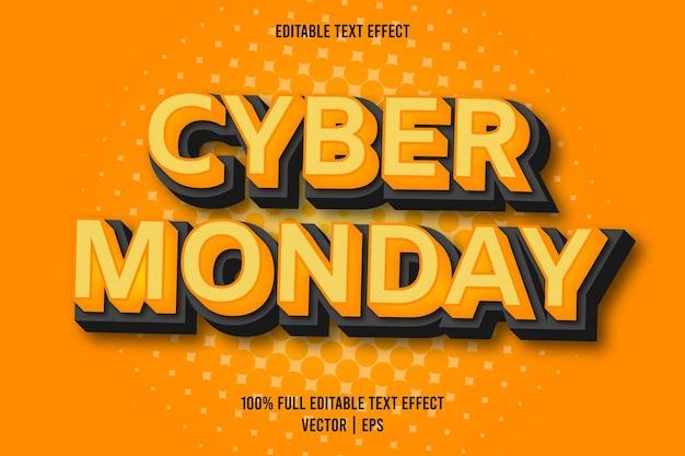 사이버 먼데이 편집 가능한 텍스트 효과 만화 스타일 오렌지 색상