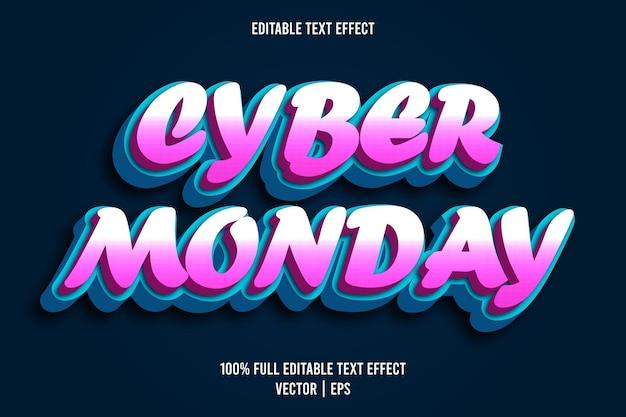 사이버 먼데이 편집 가능한 텍스트 효과 만화 스타일 핑크 및 시안 색상
