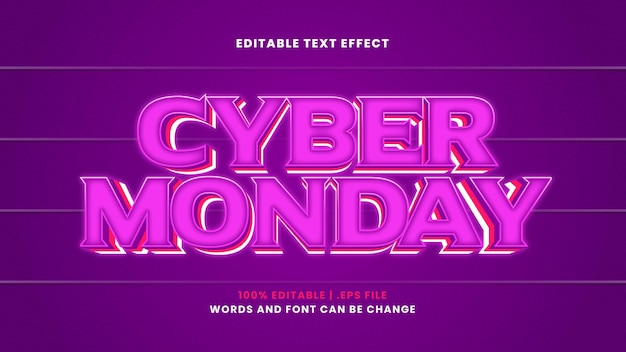 Cyber monday editable text effect in modern 3d style