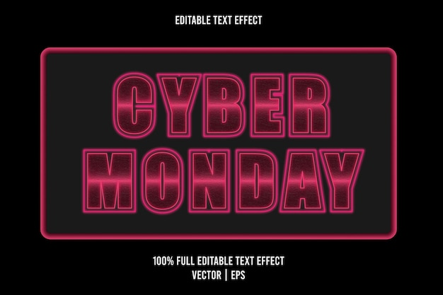 Cyber monday editable text effect pink color