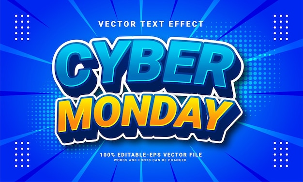 Cyber monday editable text effect suitable for cyber monday themed events.