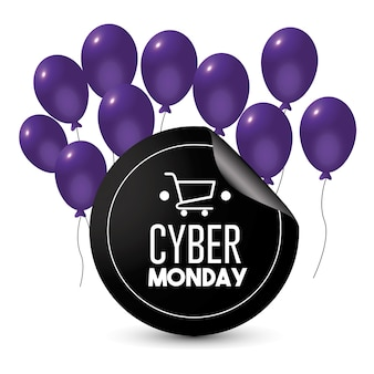 Cyber monday emblem with balloons decoration