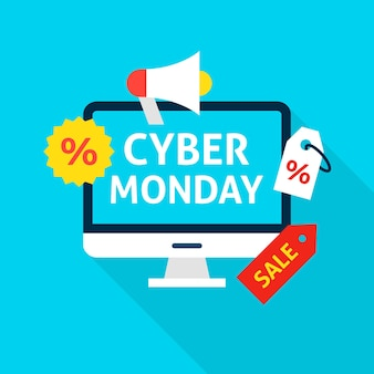 Cyber monday flat concept. vector illustration of shopping sale.