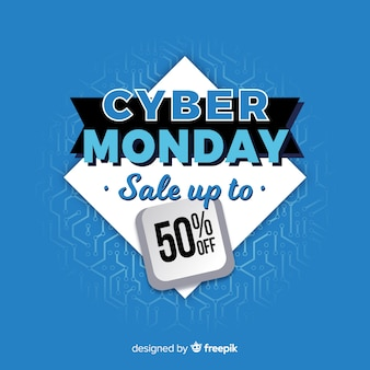 Cyber monday  in flat design banner