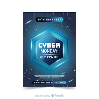Cyber monday flat design flyer template