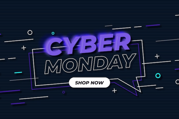 Cyber monday flat design promo banner