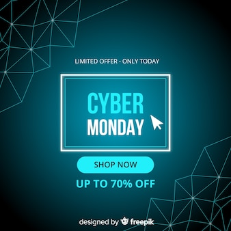 Cyber monday in flat design with gradient