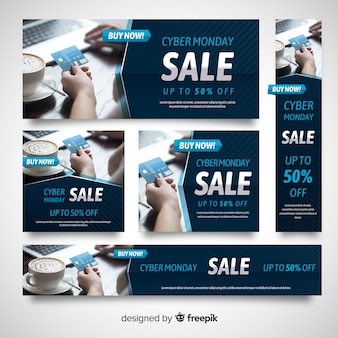 Cyber monday flat photographic banner template