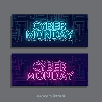 Cyber monday flyer banners in flat design
