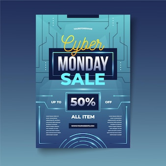 Cyber monday flyer in realistic style