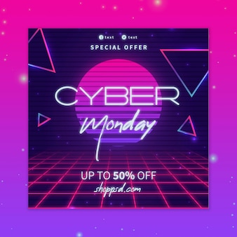 Cyber monday flyer square